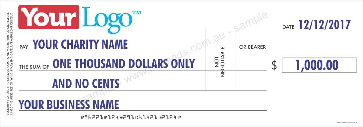 Novelty Cheque - 910mm x 320mm