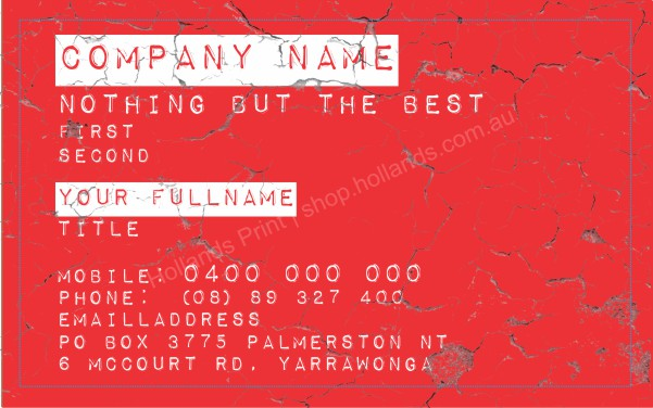 White Text: Business Card Builder 004 | Specialised Font | White Text | Beast Mode
